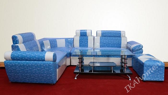 Bộ sofa góc họa tiết hoa lá vector
