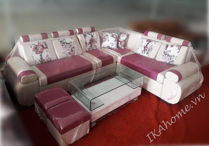 bộ sofa nỉ màu đỏ pha kem