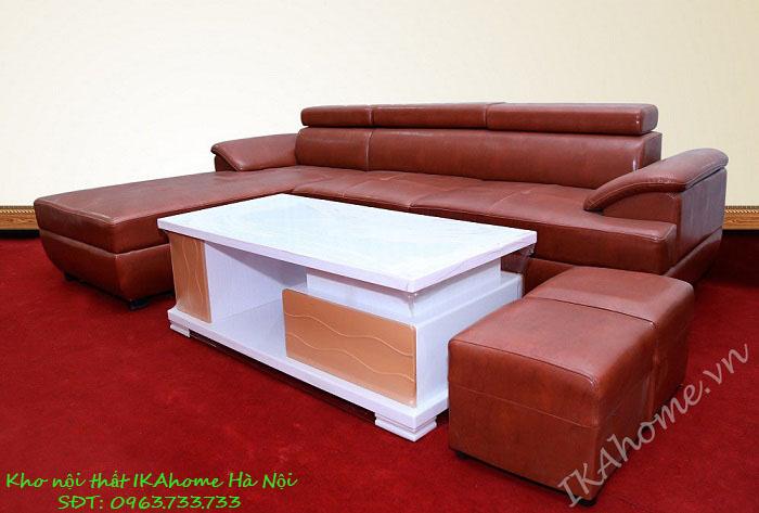 Mẫu sofa cao cấp da cleo nâu bóng