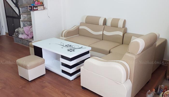 Hình ảnh Bộ ghế sofa đẹp rẻ Hà Nội tại phòng khách nhà khách hàng