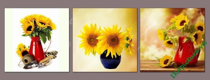 Bộ tranh trang trí hoa hướng dương 3 tấm AmiA 525