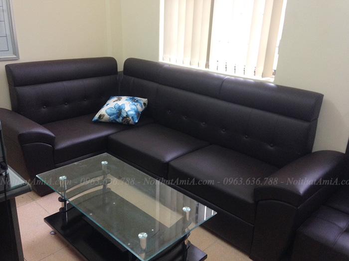 Hình ảnh Ghế sofa da góc đẹp hiện đại màu đen sang trọng