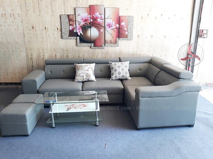 Hình ảnh mMẫu ghế sofa đẹp da chữ L hiện đại và sang trọng