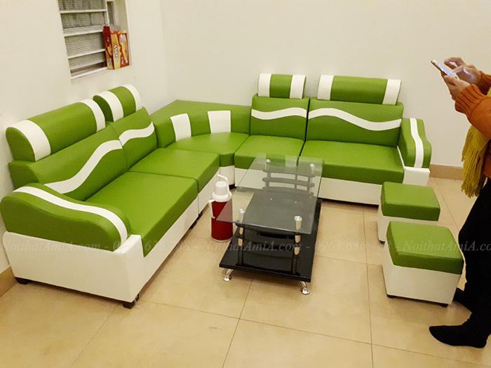 Ghế sofa đẹp giá rẻ gam màu xanh mát mắt cho căn phòng khách đẹp gia đình