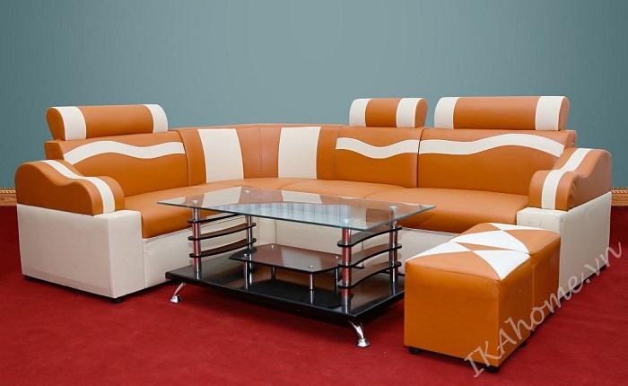 Hinh anh mau sofa da phong khách gia re mau cam luon song