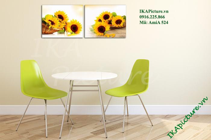 Mẫu tranh hoa hướng dương trang trí tại phòng ăn, nhà hàng