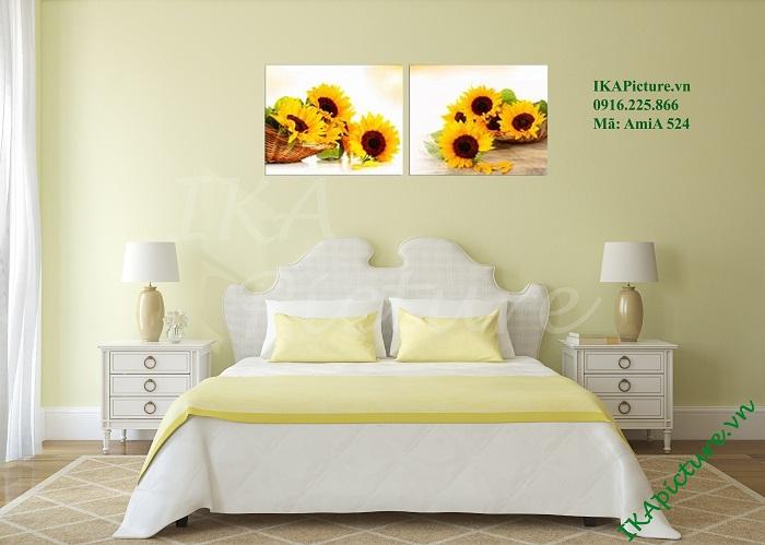 Mẫu tranh hoa hướng dương hai tấm treo trong phòng ngủ