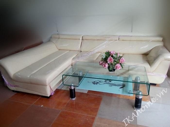 Mẫu sofa góc giá rẻ màu kem
