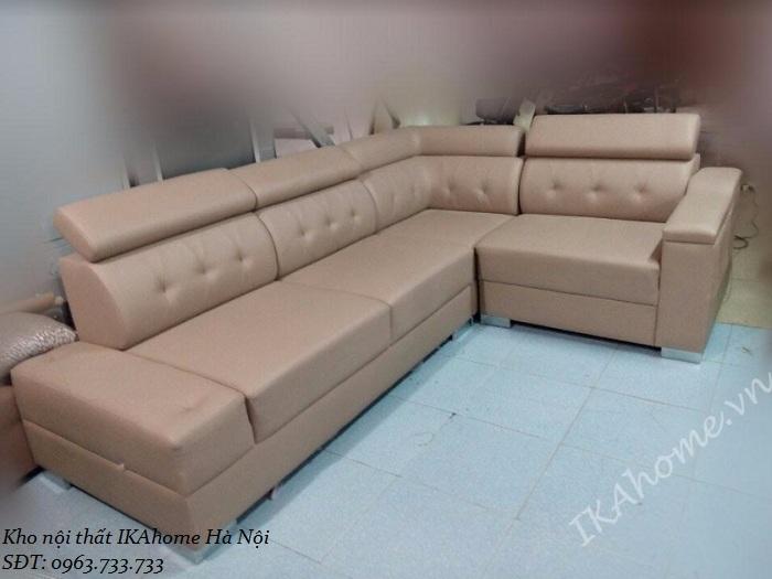 Mẫu sofa da màu kem cho phòng khách sang trọng