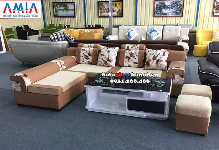 Hình ảnh Sofa nỉ chữ L cho phòng khách đẹp hiện đại tại Hà Đông, Hà Nội