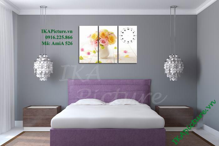 Tranh bình hoa hồng thiết kế đồng hồ độc đáo treo phòng ngủ