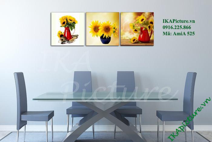 Tranh trang trí hoa hướng dương treo phòng ăn