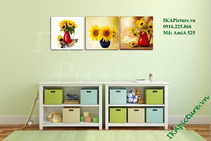 Trang trí phòng trẻ em bộ tranh hoa hướng dương 3 tấm