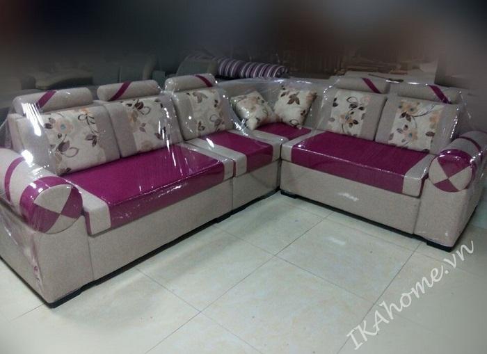 Hình ảnh bộ ghế sofa góc chất liệu nỉ hồng pha kem