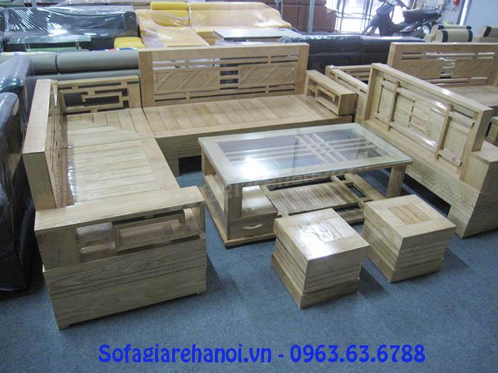 Hình ảnh cho bộ ghế sofa gỗ chữ L giá rẻ đang được trưng bày tại Tổng kho Nội thất AmiA