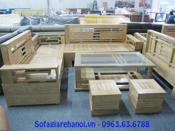 Hình ảnh cho bộ bàn ghế sofa gỗ sồi đẹp với thiết kế dạng góc hiện đại