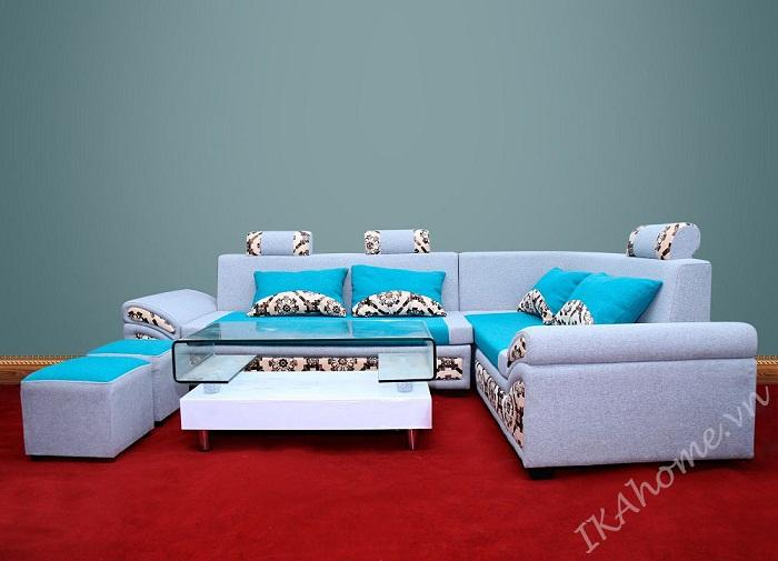 Hình ảnh cho bộ Sofa góc giá rẻ với họa tiết trang trí trẻ trung cho căn phòng khách hiện đại