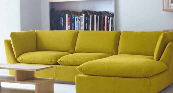 Hình ảnh mẫu sofa góc nỉ giá rẻ Hà Nội với thiết kế hiện đại cùng gam màu năng động, trẻ trung