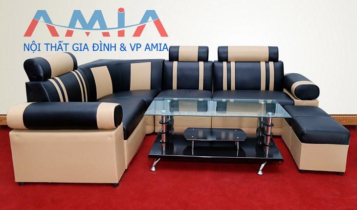Hình ảnh cho mẫu sản phẩm sofa giá rẻ màu đen pha kem đẹp hiện đại, trẻ trung