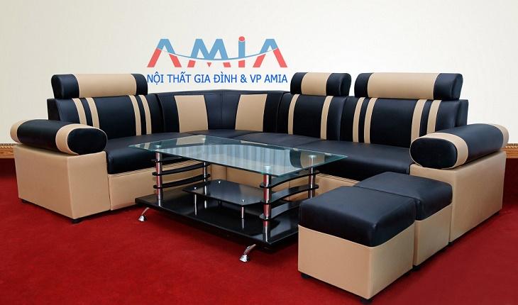 Hình ảnh cho mẫu sản phẩm sofa da giá rẻ màu đen pha kem AmiA-SFD026