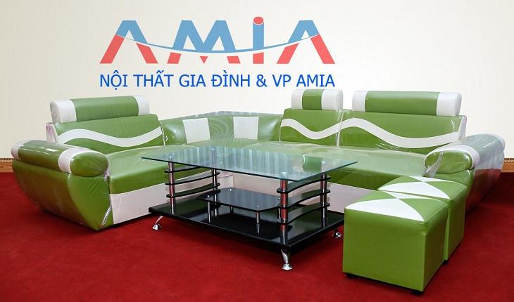 Hình ảnh cho mẫu sofa giá rẻ màu xanh đẹp lung linh trong không gian phòng khách đẹp