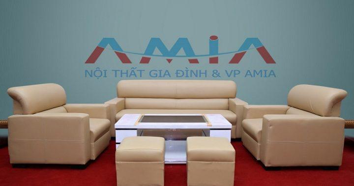 Hình ảnh cho mẫu sofa giá rẻ dưới 5 triệu đồng một bộ với gam màu kem nhẹ nhàng, hiện đại mà tinh tế