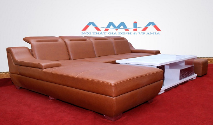 Hình ảnh cho mẫu sofa phòng khách đẹp với màu da bò hiện đại