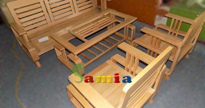 Hình ảnh bộ bàn ghế gỗ phòng khách cho không gian phòng khách gia đình