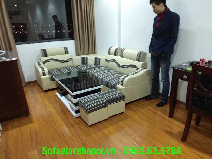 Hình ảnh bộ ghế sofa góc giá rẻ da pha nỉ hiện cũng đang rất được yêu thích và ưa chuộng