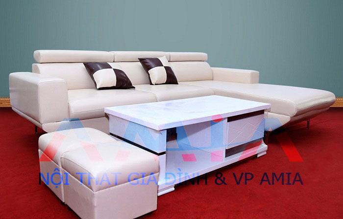 Hình ảnh cho mẫu sofa da phòng khách hiện đại hai băng góc trái