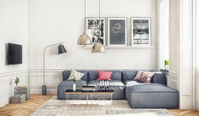 Hình ảnh cho mẫu sofa phòng khách nhỏ giá rẻ với thiết kế hiện đại dạng chữ L