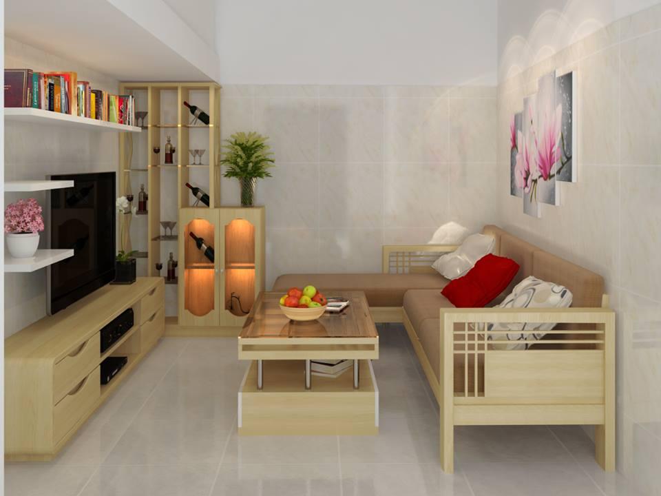 Hình ảnh cho mẫu sofa phòng khách nhỏ với chất liệu gỗ đẹp hiện đại