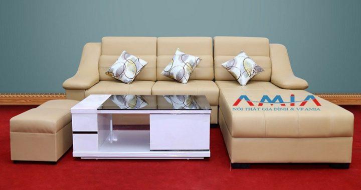 Hình ảnh cho mẫu sofa phòng khách giá rẻ với gam màu kem nhẹ nhàng, tinh tế