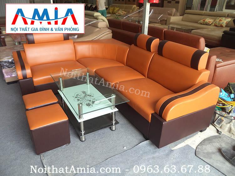 Hình ảnh cho mẫu sofa da góc giá rẻ tại Hà Nội mang phong cách thiết kế hiện đại, sang trọng và trẻ trung
