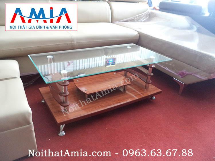 Hình ảnh cho mẫu bàn sofa mặt kính 2 tầng hợp sofa da, sofa nỉ