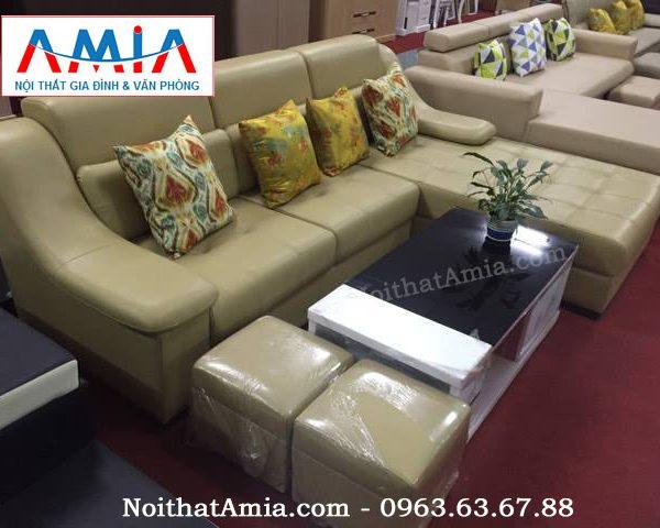 Hình ảnh cho mẫu bàn trà gỗ màu trắng kết hợp sofa da sang trọng