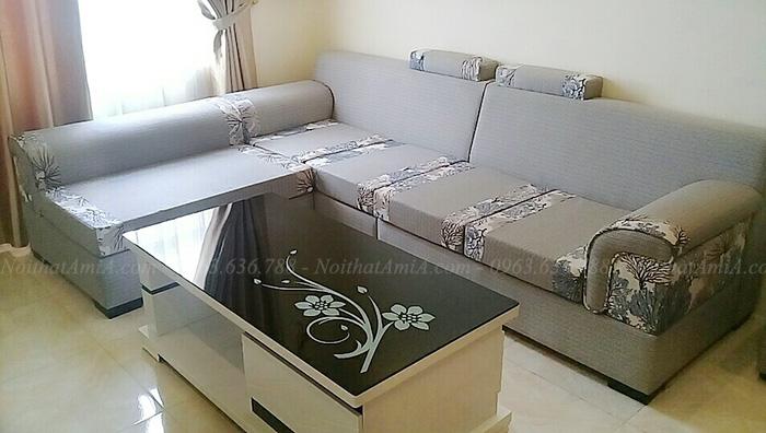Hình ảnh Ghế sofa nỉ chữ l đẹp bài trí trong không gian căn phòng khách gia đình