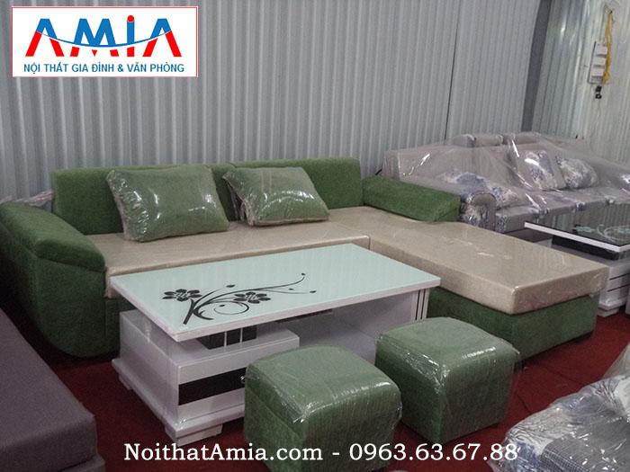 Hình ảnh cho ghế sofa nỉ đẹp màu xanh rêu AmiA SFN053