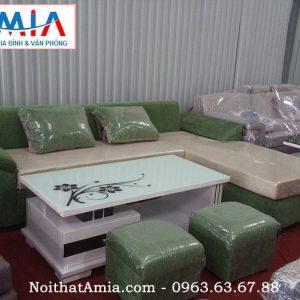 Hình ảnh cho mẫu ghế sofa nỉ đẹp màu xanh rêu AmiA SFN053