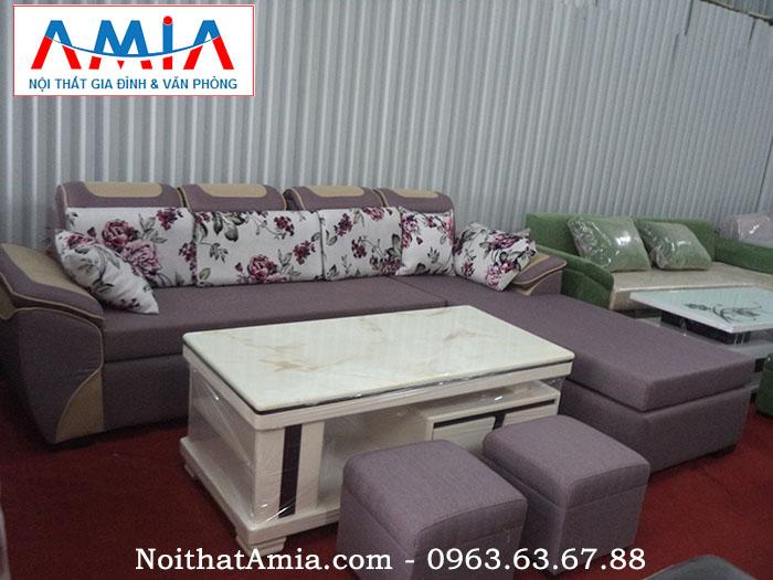 Hình ảnh cho mẫu ghế sofa nỉ phòng khách đẹp màu ghi AmiA SFN051