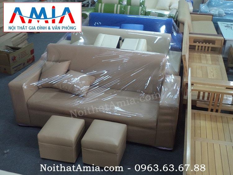 Hình ảnh cho mẫu ghế sofa văng da màu nâu nhạt hiện đại và sang trọng