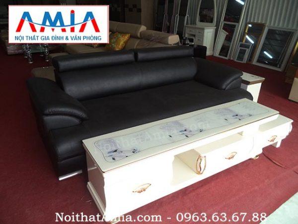 Hình ảnh cho mẫu ghế sofa văng da màu đen AmiA SFV062 vừa hiện đại vừa sang trọng