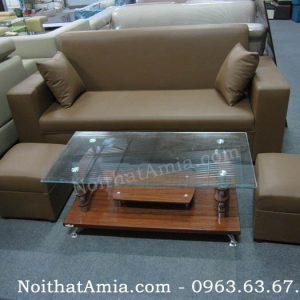 Hình ảnh cho mẫu ghế sofa văng da màu nâu đẹp hiện đại cho không gian phòng khách nhỏ