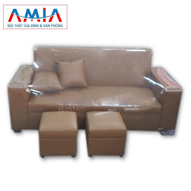Hình ảnh cho mẫu ghế sofa văng da màu nâu sẫm AmiA SFV060 vừa hiện đại vừa sang trọng