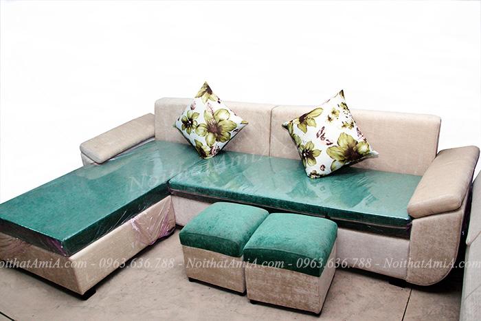 Hình ảnh mMẫu ghế sofa đẹp nỉ chữ L phối kết hợp màu xanh đẹp mắt