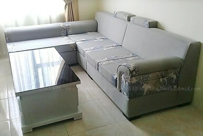 Hình ảnh Mẫu sofa nỉ đẹp chữ L cho căn phòng khách đẹp gia đình Việt