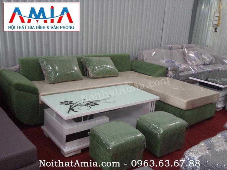 Hình ảnh cho màn sofa, bàn trà gỗ mặt kính trắng kết hợp ghế sofa nỉ đẹp hiện đại