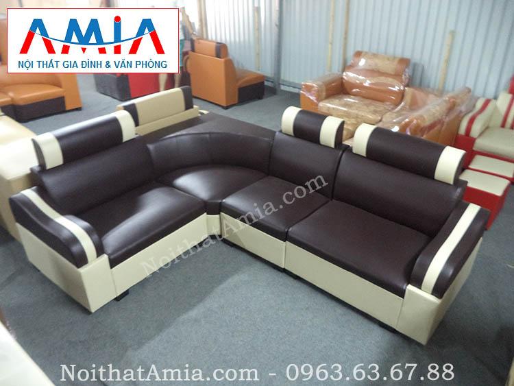 Hình ảnh cho mẫu sofa da góc giá rẻ màu đen đẹp hiện đại cho không gian phòng khách sang trọng