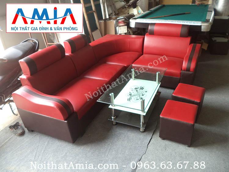 Hình ảnh cho bộ sofa da giá rẻ màu đỏ hợp cho căn phòng trung bình nhỏ