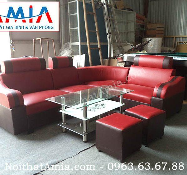 Hình ảnh cho bộ sofa da góc giá rẻ hà nội màu đỏ
